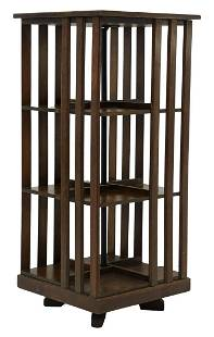 ARTS & CRAFTS OAK ROTATING BOOKCASE LIBRARY STAND