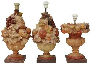 (3) ITALIAN PAINTED & CARVED WOOD TABLE LAMPS
