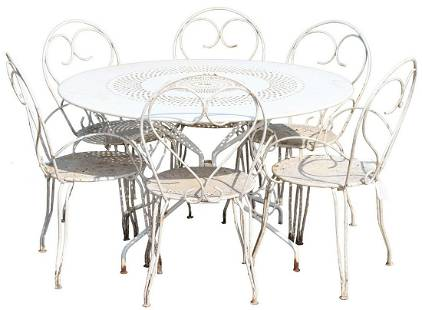 (7) FRENCH IRON PATIO TABLE & CHAIRS