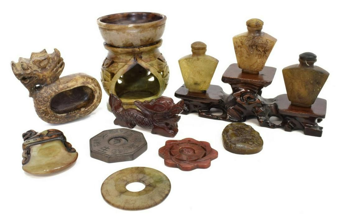 (11) CHINESE CARVED JADE & HARDSTONE ITEMS