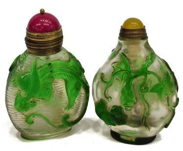 (2) CHINESE PEKING OVERLAY GLASS SNUFF BOTTLES