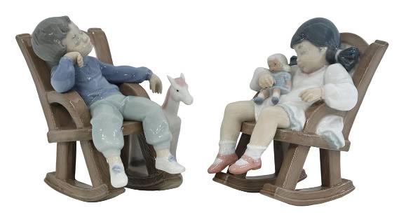 (2) LLADRO PORCELAIN ROCKING KIDS, #5846 & #5448