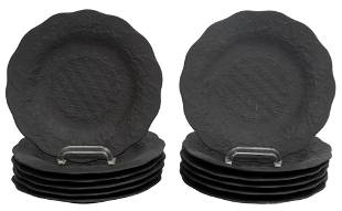 (12) WEDGWOOD BLACK BASALT GRAPEVINE SALAD PLATES