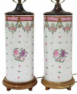 (2) CHINESE HAND-PAINTED PORCELAIN HAT STAND LAMPS