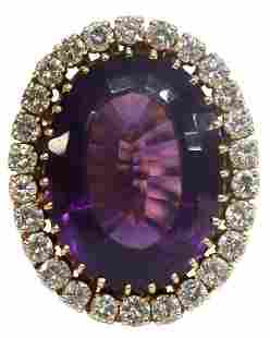 ESTATE 14KT YELLOW GOLD, AMETHYST & DIAMOND RING