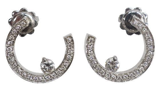 (PR) ITALIAN 18KT WHITE GOLD & DIAMOND EARRINGS