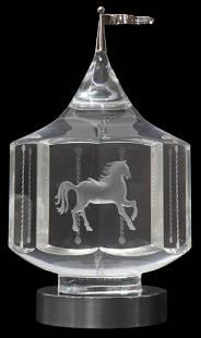 STEUBEN ART GLASS CAROUSEL SCULPTURE IN BOX