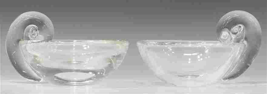 (2) STEUBEN JOHN DREVES SNAIL HANDLE OLIVE DISHES