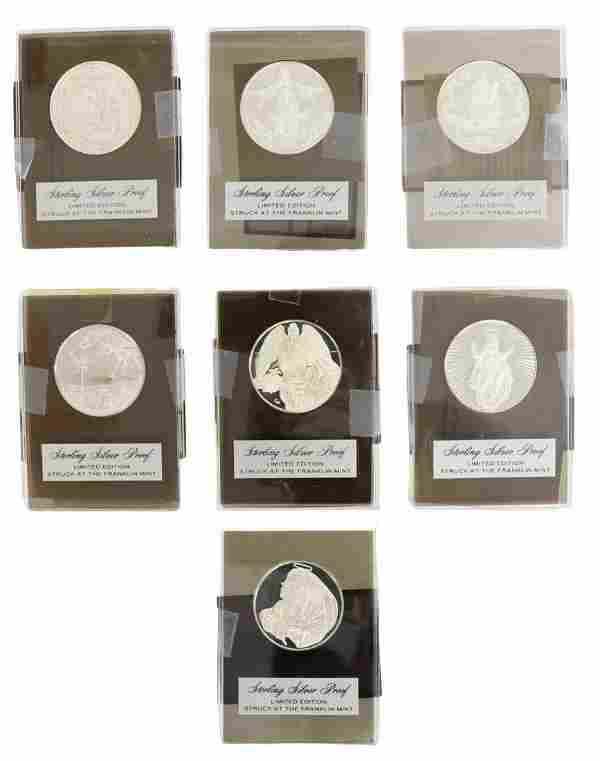 (7) FRANKLIN MINT RELIGIOUS STERLING SILVER MEDALS