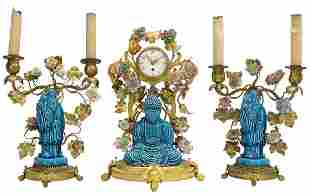 (3) GUMP RETAILED FRENCH CHINOISERIE CLOCK SET