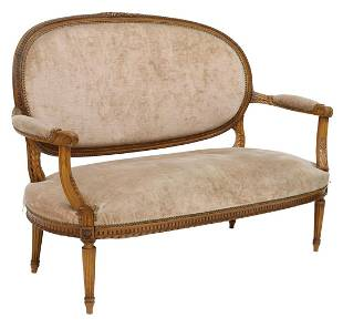 FRENCH LOUIS XVI STYLE UPHOLSTERED SALON SETTEE