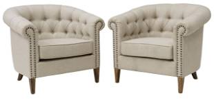 (2) LINEN UPHOLSTERED CLUB CHAIRS