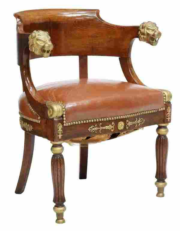 FRENCH EMPIRE STYLE GILT METAL MOUNTED ARMCHAIR