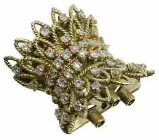 ESTATE 14KT YG & .75CTTW DIAMOND SET CLASP