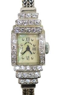 LADY ELGIN 14KT WHITE GOLD & DIAMOND WRISTWATCH