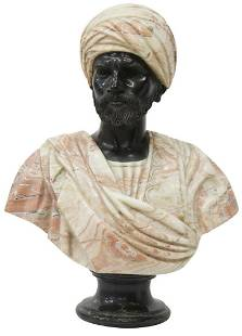 AFTER CHARLES CORDIER CARVED MARBLE BUST, SHEIK