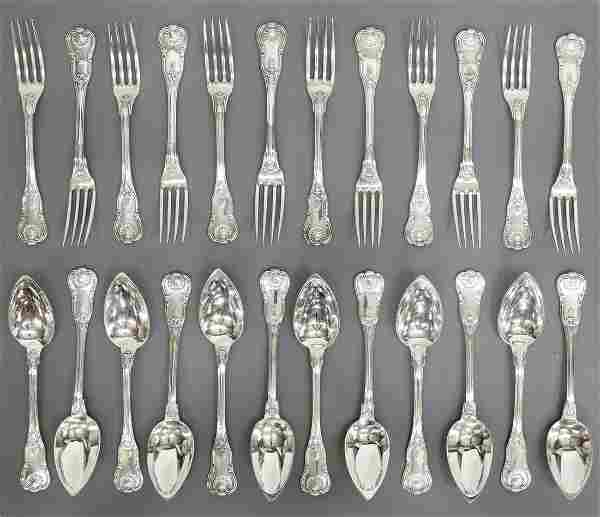 (24) FRENCH 950 SILVER KING'S PATTERN FLATWARE