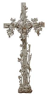 FRENCH PAINTED CAST IRON CRUCIFIX CROSS