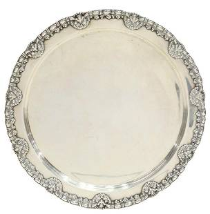 """TIFFANY & CO. ART NOUVEAU STERLING 11"""" ROUND TRAY"""
