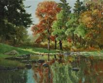 ANTHONY THIEME (1888-1954) BEVERLY MASS. LANDSCAPE