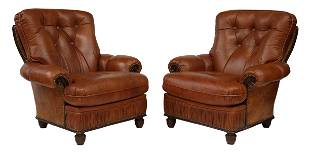 (2) ITALIAN BUTTON-TUFTED LEATHER ARMCHAIRS