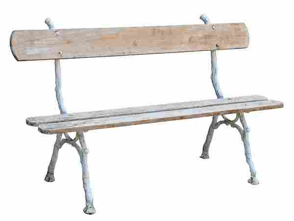 PAINTED WOOD & CAST IRON BRANCH-FORM GARDEN BENCH