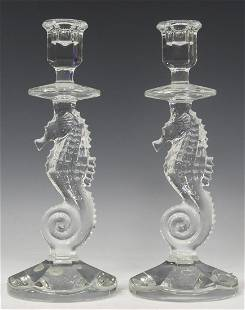 (2) WATERFORD CRYSTAL SEAHORSE CANDLESTICKS