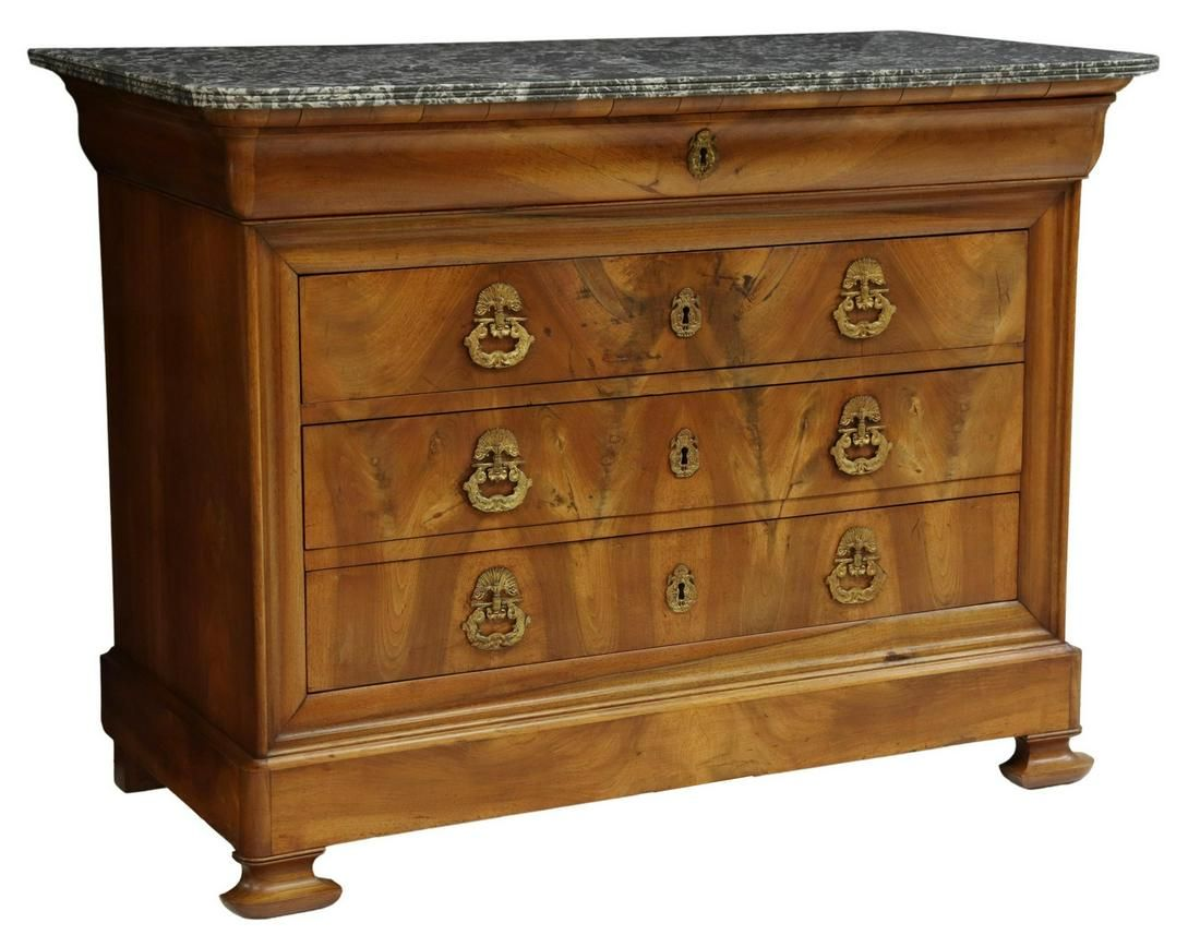 FRENCH CHARLES X MARBLE-TOP WALNUT COMMODE