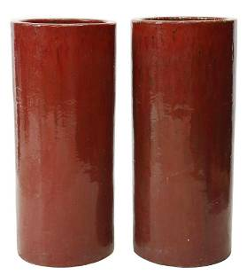 (2) ARCHITECTURAL TALL RED-GLAZED CERAMIC PLANTERS