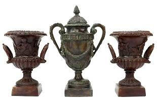 (3) SMALL MAITLAND-SMITH PATINATED BRONZE URNS
