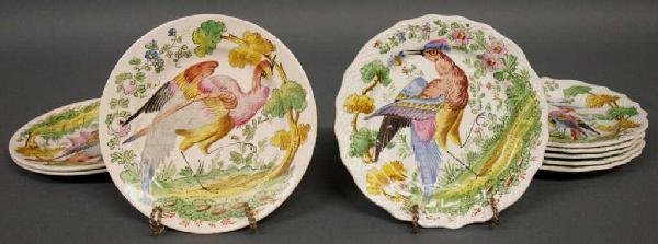 ANTIQUE EARTHENWARE HAND PAINTED BIRD PLATES