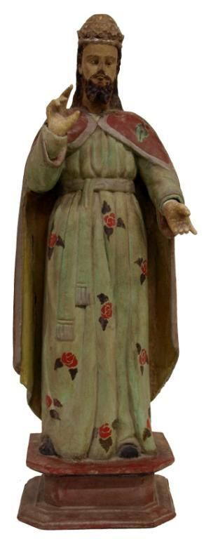 FRENCH COLONIAL CARVED WOOD RELIGIOUS STATUE