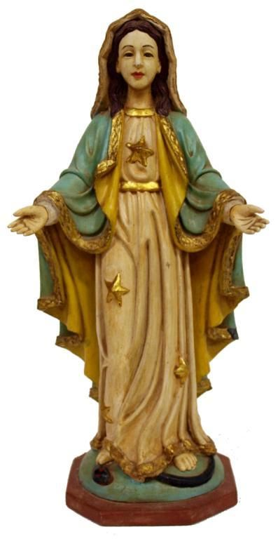ANTIQUE COLONIAL CARVED RELIGIOUS STATUE, MARY
