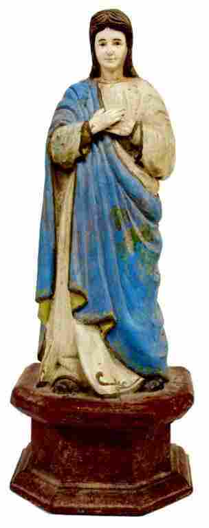 FRENCH COLONIAL WOOD & BONE RELIGIOUS STATUE, MARY