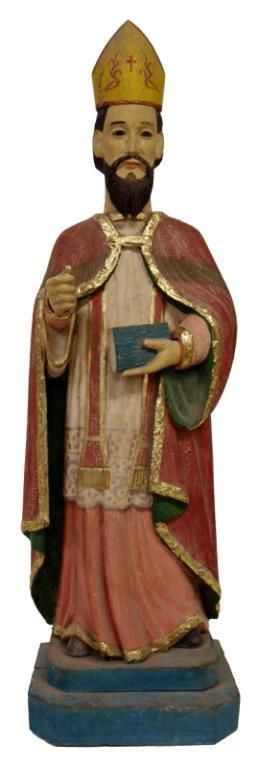 FRENCH COLONIAL CARVED RELIGIOUS STATUE, ST ANSELM