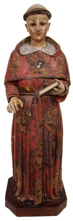 LARGE FRENCH COLONIAL WOOD RELIGIOUS STATUE
