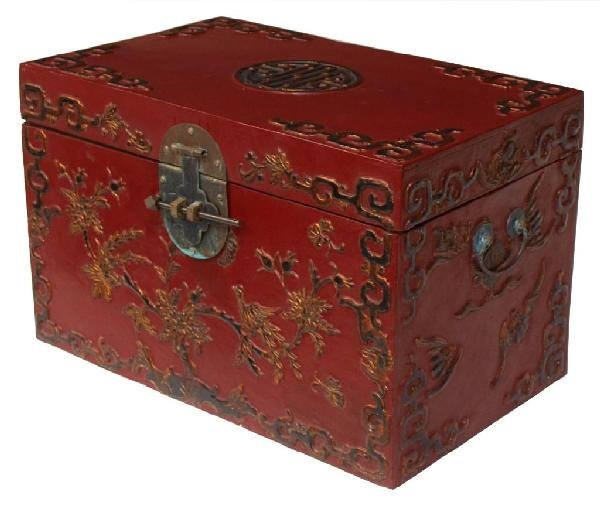 CHINESE PARCEL GILT RED LACQUER STORAGE CHEST
