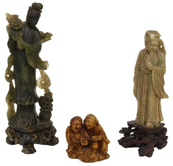 (3) CHINESE CARVED STONE STATUES