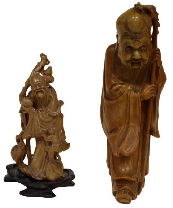 (LOT OF 2) CARVED STONE CHINESE FIGURES, LONGEVITY