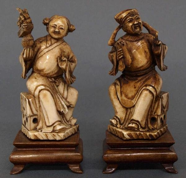 CHINESE IVORY ATTENDANT & COURT OFFICIAL FIGURES