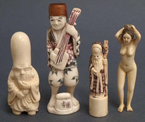 (4) CARVED IVORY NUDE, ENTERTAINER & OTHER FIGURES
