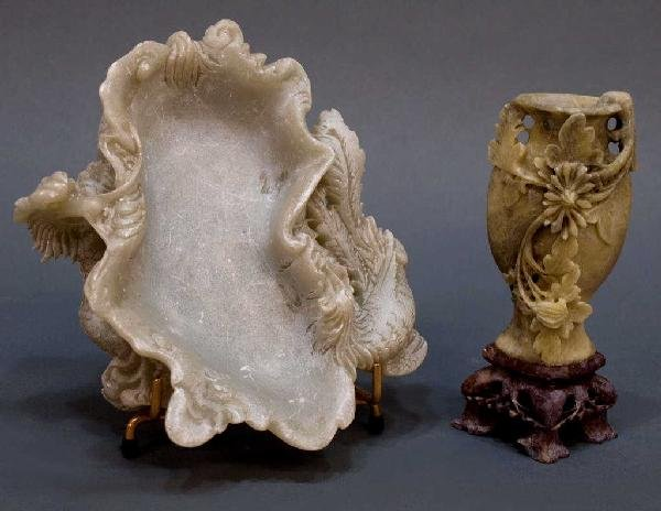 (2) CHINESE SOAPSTONE CARVINGS, DRAGON & PHOENIX