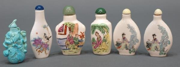 CHINESE PORCELAIN & TURQUOISE SNUFF BOTTLES