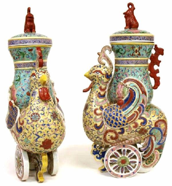 (PAIR) ASIAN PORCELAIN VASES OF ROOSTER FORM