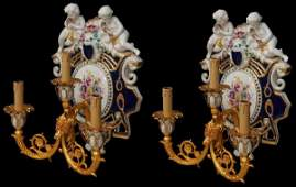 PAIR FRENCH SEVERES STYLE 3 LIGHT WALL SCONCES