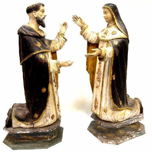 (2) RELIGIOUS STATUES, MARY & ST  DOMINIC, ROSARY