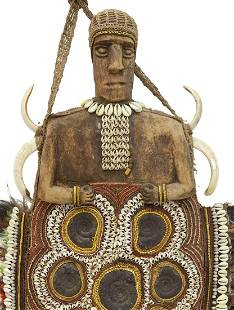 WEST AFRICA COWRIE & FOSSIL CEREMONIAL SHIELD