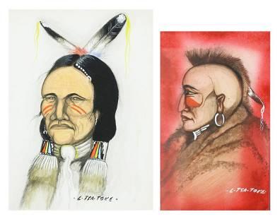 (2) LEE TSATOKE (D.1985) NATIVE AMERICAN PORTRAITS