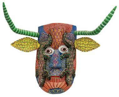 OCUMICHO MEXICO FOLK ART CARVED WOOD MASK