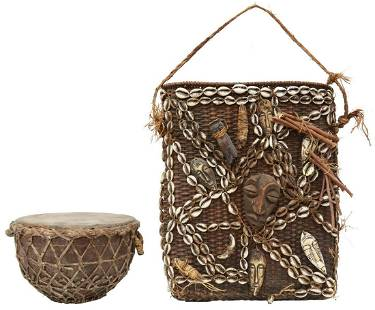 (2) AFRICAN WOVEN ITEMS, DRUM & BASKET